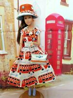 OOAK HANDMADE DOLL CLOTHES FOR FASHIONISTA LONDON BUS OUTFIT DRESS SET