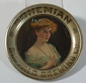 c1910 BUFFALO BREWING CO TIN LITHO ADVERTISING TIP TRAY BEER TRAY BOHEMIAN BEER