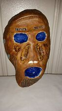 Quirky Handmade Hand Painted Ceramic Halloween Mask Clay Kid Craft