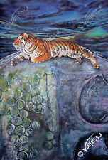 Limited Edition A3 Signed Wildlife Art Print Painting of Thai Tiger on Buddha