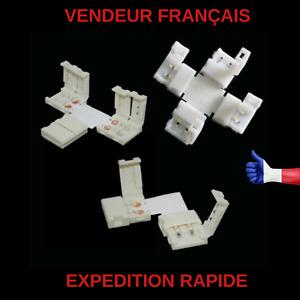 CONNECTEUR RUBAN LED 2835/3528 8mm 2 PINS SANS SOUDURE FORME L/T/OU X AU CHOIX