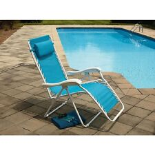 ESSENTIAL GARDEN PORTABLE LEISURE LOUNGER POOL BEACH FOLDING OUTDOOR BLUE CHAIR
