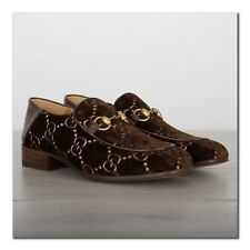 GUCCI 850$ Authentic New Horsebit Loafers In GG Brown Velvet With Foldable Heels