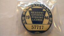 1946 Pennsylvania Resident Citizen'S Fishing License Pin #57717