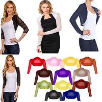 New Womens Mesh Shrug Ladies Full Sheer Chiffon Bolero Cropped  Top Cardigan 8-