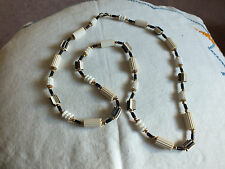 Beautiful Necklace Choker Gold Black White Rubber Beads UNIQUE