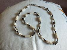 Beautiful Necklace Choker Gold Black White Rubber Beads UNIQUE