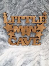 LITTLE MAN CAVE OAK STAINED PLYWOOD HANGING SIGN