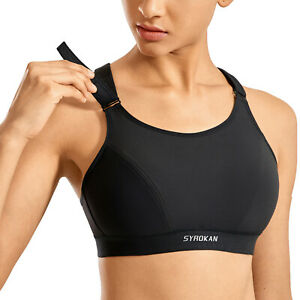 SYROKAN Women Sports Bra Wirefree High Impact Plus Size Full Support Padded