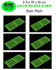 6 x GLOW IN THE DARK STAIR MAT 39x18cm Stair Mat High Visibility Mat Stair Tread
