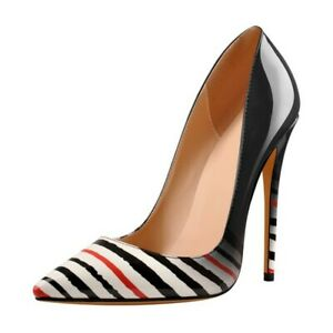 Womens Sexy Multicolors Striped Pointed Toe Pumps High Heels Stilettos Shoes NEW