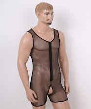 Sexy Men See Through Sheer Fishnet Bodysuit Leotard Jumpsuit Nightwear Underwear