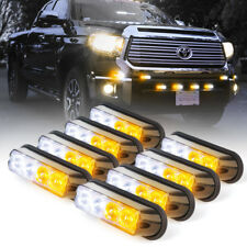 8 pc High Intensity Grille LED Side Marker Emergency Strobe Light - White Amber
