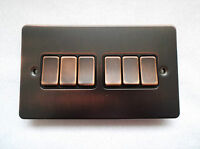 Ultra Slim 6 Gang 10 Amp Plate Switch - Bronze  - By GET ULTIMATE RANGE