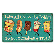 """Cute Vintage Style Let's All Go To The Lobby Snacks Steel Metal Sign 14"""" x 8"""""""