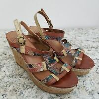 Lucky Brand Platform Wedge Sandals 7 Blue Brown Fabric Synthetic Vegan Strappy