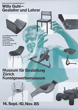 Original Vintage Poster Willy Guhl Swiss Furniture Exhibition Museum Zurich 1985