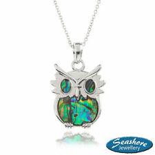 "Owl Necklace Paua Abalone Shell Pendant Womens Silver Fashion Jewellery 18"" 45cm"