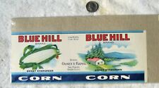 "Can label ""BLUE HILL SWEET CORN OLNEY  FLOYD LEE CENTER. ONEIDA CO. N.Y."" 1920's"