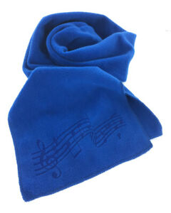 Royal Blue Fleece Music Notes Winter Scarf, Laser Etched, Men's or Women's
