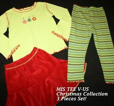 MIS-TEE-V-US Boutique Christmas Ornaments 3pc Set Top Skirt Leggings Girl Sz 5/6