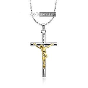 18K WGP Crucufix Cross with 18K GP Jesus Men's / Women's Solid Necklace N221