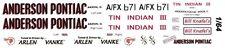 Arlen Vanke Tin Indian Iii 1963-64 1/64th Ho Scale Slot Car Waterslide Decals