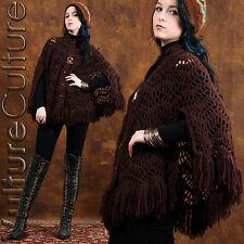 Vintage 70s Sheer Hippie Poncho Boho Cape Crochet Brown Knit Fringe Gypsy