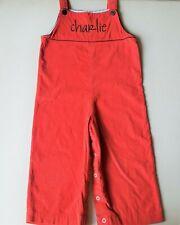 Boys boutique rust red orange corduroy overalls romper 3T monogrammed Charlie