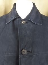 Mulberry Blue Leather Quilted Lined 3/4 Coat Jacket - Large UK14 EU42