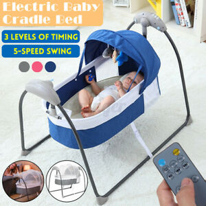 □3-Modes Electric Baby Crib Cradle Sleep Bed Bouncer 5-speed Swing Bed + Remote