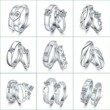 1 Set Sell Adjustable Lovers Zircon Engagement Rings for Women Fashion Silver