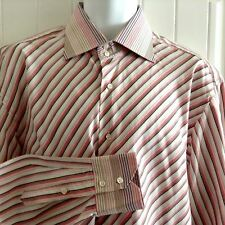Brandolini Striped Button Front Shirt Size 4618 Made in Italy Pink Brown Cream