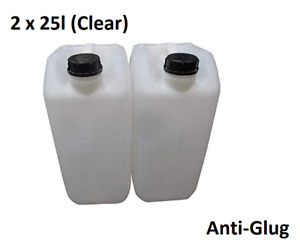 2 x 25 LITRE 25L PLASTIC BOTTLE JERRY WATER CONTAINER CANISTER ANTI GLUG - CLEAR