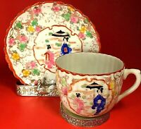 VINTAGE ASIAN CUP AND SAUCER GEISHA GIRLS HAND PAINTED SCALLOPED PORCELAIN