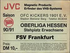 Ticket Ober liga Hessen 90/91 kickers Offenbach-fsv Frankfurt
