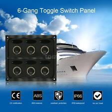 12-24V Car Marine Boat SPST ON/OFF 6-Gang Toggle Switch Pane Fuse LED Light C2O6