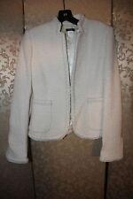 J. Crew Ivory Wool Collarless Wear to Work Career Tweed Blazer Jacket 0