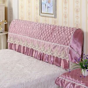 Fabric European leather bed with thick bright headrest Lace Bed Headboard Cover