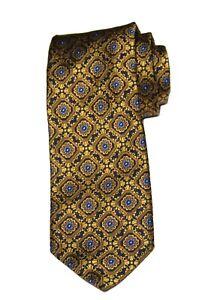 Robert Talbott Tie Silk Gold Blue Black Floral Men's