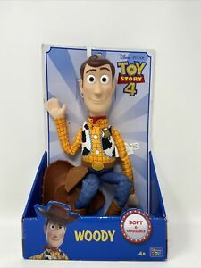 Disney Pixar Toy Story 4 Woody Doll Soft & Huggable With Hat Thinkway Toys New