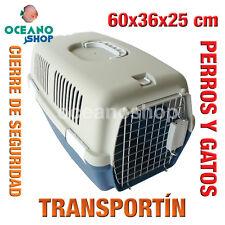 TRANSPORTÍN PERROS Y GATOS PLASTICO CALIDAD CIERRE Y ASA 60x36x25 cm L543 2168