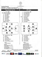 Teamsheet - Manchester City v Ajax 2012/13 UEFA Champions League