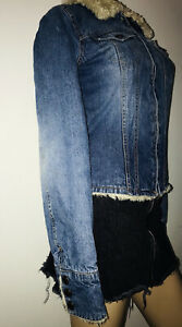 Abercrombie Jean Jacket Faux Fur Collar Satin Lined Blue Denim Small
