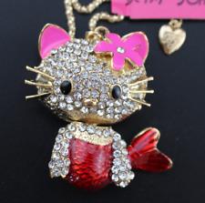 Pendant Jewelry Betsey Johnson Rhinestone Flower Fish charm cat chain Necklaces