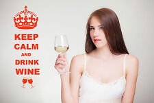 Keep Calm And Drink Wine Wall Art Decal Sticker for Kitchen Many Colours KCW1