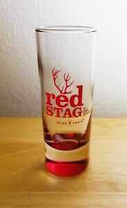 8 Jim Bean Red Stag Shot / Shooter Glass Straight Side Red Weighted  NOS