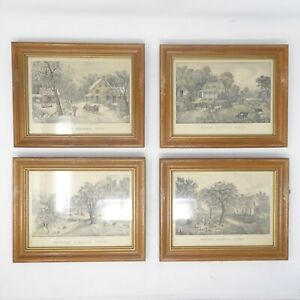 Antique Currier & Ives Lithograph American Homestead Spring Summer Autumn Winter