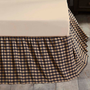 """Navy Check Twin Bed Skirt 16"""" Drop Navy Khaki Gathered Farmhouse / Country"""