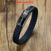 Custom Engraving Medical Alert ID Leather Bracelet Men Braided Stainless Steel